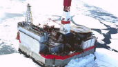 Molikpaq platform in winter ice conditions