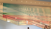 A giant mural by Andre Bowers is currently hanging at the Hammer Museum on UCLA's campus in Los Angeles depicting the multi-layered bank financing for DAPL and associated companies