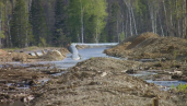 Pipeline is engulfed by high river levels